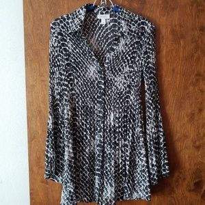 Dress Barn Tops - Snake print long button down shirt
